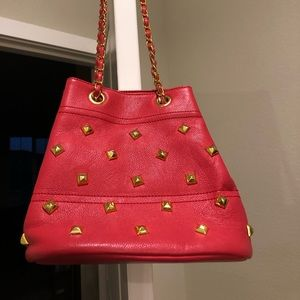 Handbags - Red and Gold Shoulder Purse